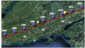 Cobourg to Belleville - 1980-2020