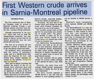 First Western Crude Arrives in Sarnia-Montreal Pipeline - Mtl Gazette June 16 1976