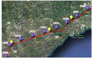 North York to Whitby - 1900-1940