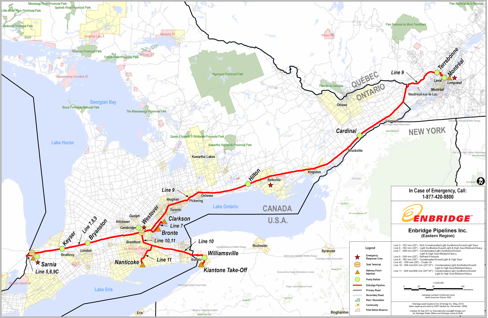 Enbridge oil pipelines in Ontario
